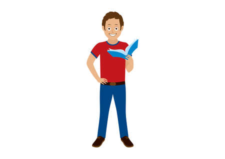 Standing man holding a book icon vector. Young man standing with hand on hip cartoon character. Cheerful man holding a book icon isolated on a white background. Male reader clip art 일러스트