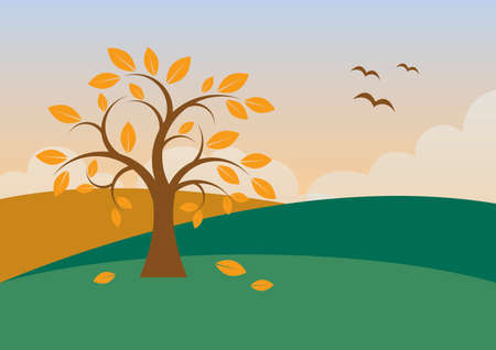 Tree with falling leaves in autumn landscape vector. Autumn tree in a beautiful landscape vector. Autumn landscape with sunset illustration