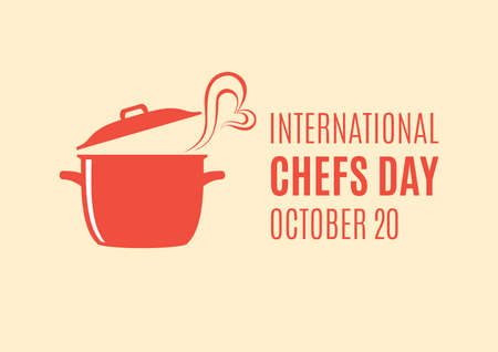 International Chefs Day vector. Cooking pot with heart shape icon vector. Chefs Day Poster, October 20. Important day