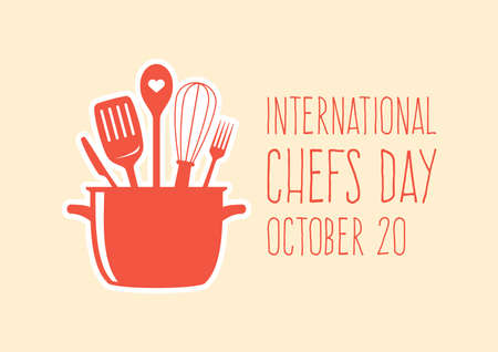 International Chefs Day vector. Set of kitchen utensils in a kitchen pot icon vector. Kitchen tools for cooking icon. Kitchen tools and equipment vector. Chefs Day Poster, October 20. Important day