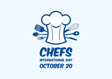 International Chefs Day vector. Chef's hat with kitchen utensils icon vector. Kitchen tools and equipment vector. Chef hat icon vector. Chefs Day Poster, October 20. Important day