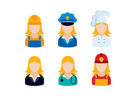 Professional women occupation icon set vector.
