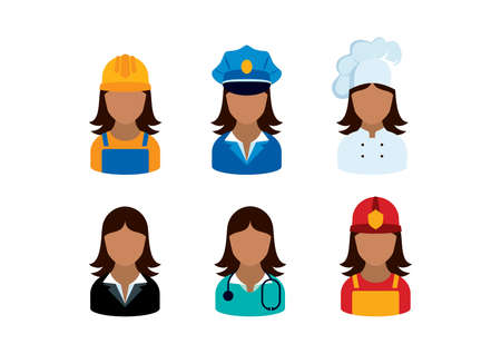 Professional african women occupation icon set vector. Female worker icon set. Firewomen, doctor, lawyer, policewoman, chef and woman worker vector. African american women employment icon set vector
