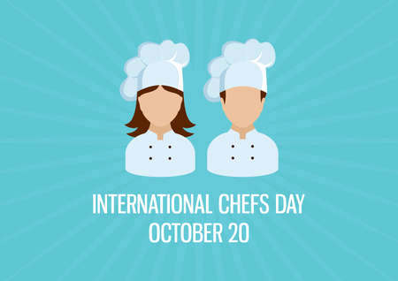 International Chefs Day vector. Female and male chef icon vector. Woman and man chef abstract vector icon. Chefs Day Poster, October 20. Important day 일러스트