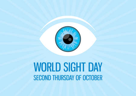 World Sight Day vector. Human blue eye icon vector. Sight Day Poster, second Thursday of October. Important day 일러스트