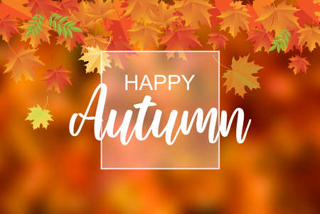 Happy Autumn wishes with falling orange leaves stock images. Happy Autumn quote stock images. Autumn background with Happy Autumn text images. Orange fall background 스톡 콘텐츠