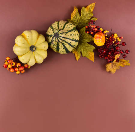 Autumn decoration on a brown background frame stock images. Autumn decoration with pumpkins top view. Autumn season border stock images. Natural fall harvest background with copy space for text 스톡 콘텐츠