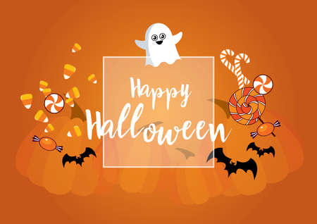 Happy Halloween wishes with ghost, sweets, bats and pumpkins vector. Happy Halloween greeting card vector. Halloween candy icon set. Cute ghost cartoon character