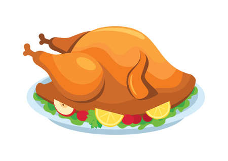 Thanksgiving roasted turkey meat with garnish icon vector. Roasted whole turkey on a plate icon isolated on a white background. Roast turkey thanksgiving dinner vector 일러스트