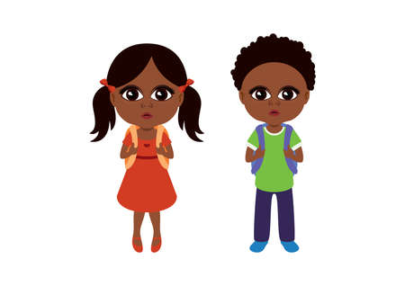 Cute african girl and boy with backpacks icon set vector. Adorable african children icon set vector. Ethnic school girl and school boy icon isolated on a white background. Small african american child