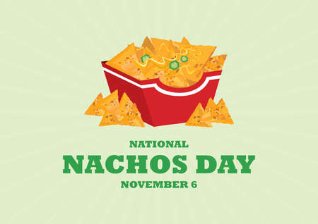 National Nachos Day vector with nachos corn tortilla with cheese and peppers icon vector.
