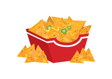 Mexican nacho chips in a box icon vector.