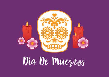 Dia de Muertos Poster with decorative sugar skull vector.
