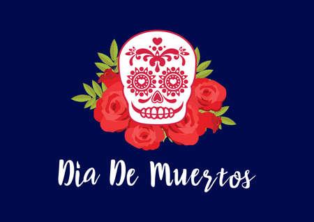 Dia de Muertos Poster with decorative sugar skull vector. Day of the Dead Poster vector. Mexican decorative skull with red roses icon vector. Sugar skull icon. Mexican holiday. Important day Иллюстрация