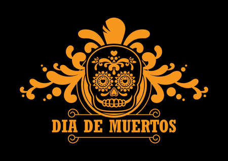Dia de Muertos Poster with decorative sugar skull vector. Day of the Dead Poster vector. Mexican decorative skull with floral golden black ornament icon vector. Sugar skull icon. Mexican holiday