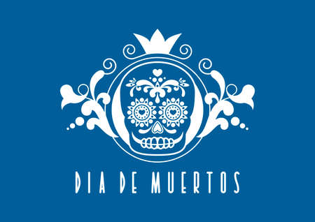 Dia de Muertos Poster with decorative sugar skull vector. Day of the Dead Poster vector. Mexican decorative skull with floral blue white ornament icon vector. Sugar skull icon. Mexican holiday Иллюстрация