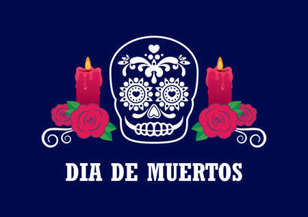 Dia de Muertos Poster with decorative sugar skull vector. Day of the Dead Poster. Mexican decorative skull with candles and red roses icon vector. Sugar skull icon. Mexican holiday. Important day