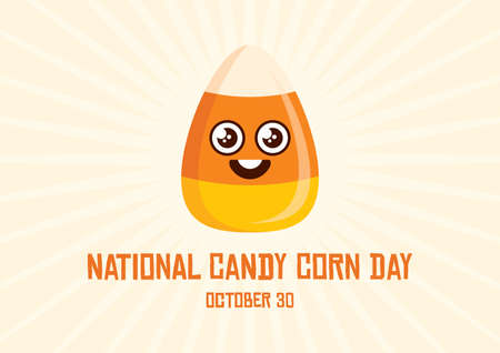 National Candy Corn Day vector. Cute Candy Corn cartoon character. Popular halloween candy vector. Candy Corn Day Poster, October 30. Important day