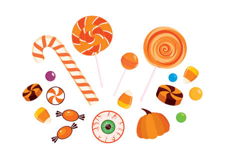 Pile of halloween candy icon set vector. Different types of candies icon set. Halloween candy collection vector. Group of sweets icon isolated on a white background Иллюстрация