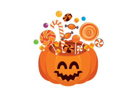 Cute pumpkin with halloween candy icon vector. Orange pumpkin full of candy vector. Halloween sweets with cheerful pumpkin icon isolated on a white background Иллюстрация