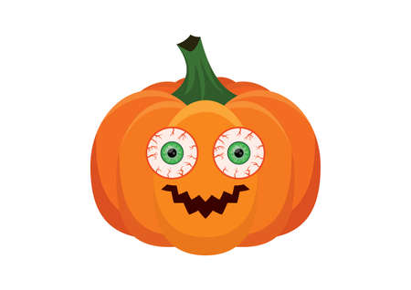 Funny halloween pumpkin with big eyes icon vector. Halloween pumpkin with scary round eyes vector. Spooky pumpkin icon isolated on a white background