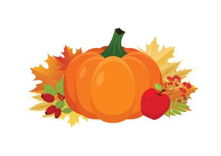 Beautiful orange whole pumpkin with autumn harvest decoration icon vector. Thanksgiving autumn harvest decoration icon isolated on a white background. Autumn decor clip art. Harvest festival icon Иллюстрация