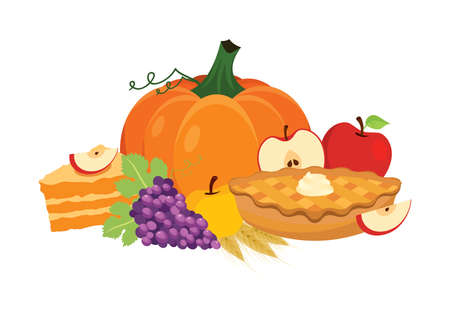 Traditional thanksgiving food with apple pie and pumpkin icon vector. Thanksgiving autumn harvest decoration icon isolated on a white background. Autumn food still life icon. Harvest festival clip art