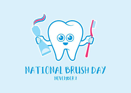 National Brush Day vector. Happy tooth cartoon character. Healthy tooth with toothbrush and toothpaste icon vector. Brush Day Poster, November 1. Important day Иллюстрация
