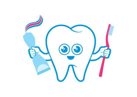 Healthy tooth with toothbrush and toothpaste icon vector. Cute tooth cartoon character. Happy tooth holding a toothbrush icon isolated on a white background