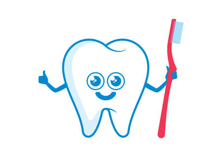 Happy tooth holding a toothbrush icon vector. Healthy tooth with toothbrush cartoon character. Cute tooth icon isolated on a white background