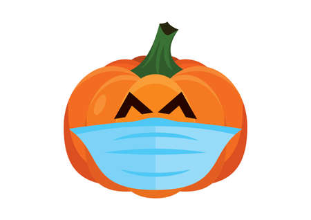 Halloween pumpkin with protective face mask icon vector. Funny halloween pumpkin with coronavirus mask isolated on a white background. Pumpkin wearing medical mask on face to prevent flu vector Иллюстрация