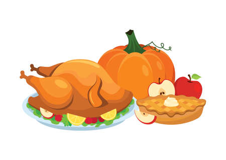 Thanksgiving dinner with roasted turkey and apple pie icon vector. Traditional thanksgiving food icon isolated on a white background. Thanksgiving autumn decoration icon. Autumn food still life vector