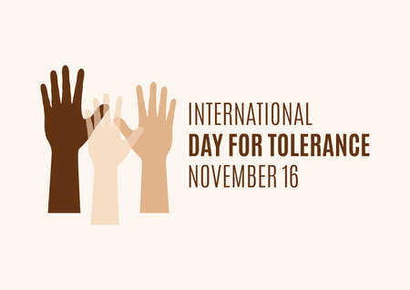 International Day for Tolerance vector. Human hands with different skin colors silhouette icon vector. Day for Tolerance Poster, November 16. Important day Иллюстрация