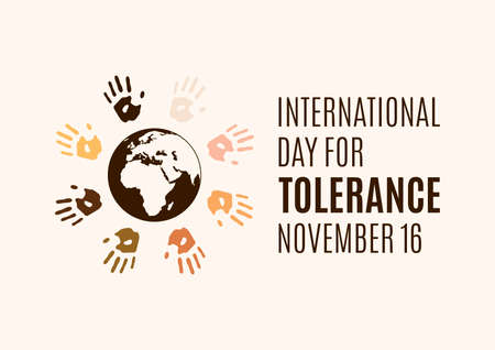 International Day for Tolerance vector. Human hands with different skin colors silhouette vector. Colorful handprints around the planet earth vector. Different colored handprints vector. Important day Иллюстрация