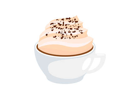 Cup of cappuccino with fluffy milk foam icon vector. Cappuccino icon isolated on a white background. Cup of coffee with whipped cream vector. White cup with hot chocolate and whipped cream icon vector