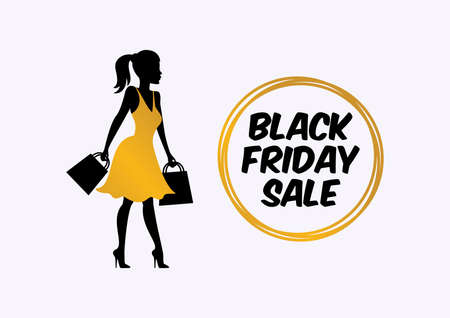 Black Friday Sale with silhouette shopping girl icon vector. Silhouette woman holding shopping bags vector. Shopper girl in golden dress vector. Black Friday icon set vector. Golden black sales tag Иллюстрация