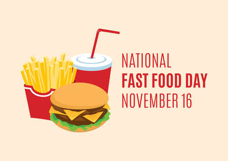 National Fast Food Day vector. Hamburger, french fries and drink vector. Fast Food icon vector. American food and beverage holiday. Fast Food Day Poster, November 16 Иллюстрация