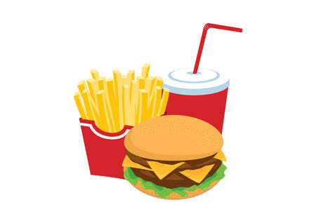Hamburger, french fries and drink fast food icon set vector. Fast Food icon isolated on a white background. Fast food pile of junk food vector