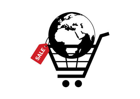 Planet earth in a shopping cart icon vector. Planet earth with discount label icon vector. Planet earth with red sale tag symbol. Consumption clip art isolated on a white backgroud Иллюстрация