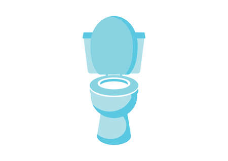 Flush toilet bowl simple icon vector. Toilet bowl blue icon isolated on a white background. Water closet icon vector. Sanitary facility clip art
