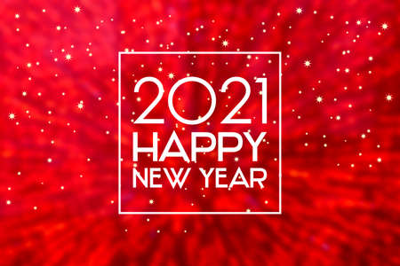 2021 New Year sign on a blurred red shiny