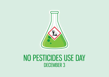 No Pesticides Use Day vector. Dangerous for the environment symbol. Laboratory chemical beaker icon vector. The symbol is of a dead tree and fish vector. No Pesticides Use Day Poster, December 3