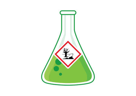 Laboratory chemical beaker with toxic liquid icon vector. Dangerous for the environment symbol. The symbol is of a dead tree and fish vector. Glass container with poisonous liquid clip art