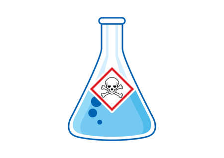 Laboratory chemical beaker with toxic liquid and hazard symbol icon vector. Dangerous symbol with skull icon. The skull and crossbones symbol vector. Glass container with poisonous liquid clip art Иллюстрация
