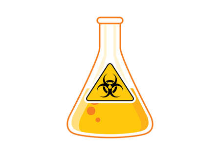 Laboratory chemical beaker with toxic liquid and hazard symbol icon vector. Biohazard icon vector. Dangerous symbol with radiation icon. Glass container with yellow poisonous liquid clip art
