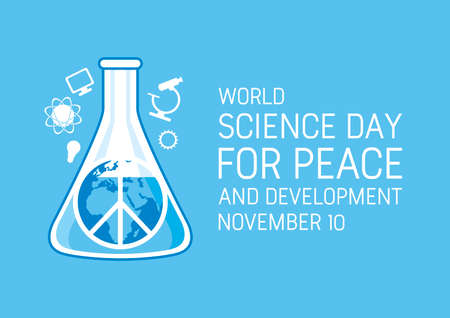 World Science Day for Peace and Development vector. Laboratory chemical beaker with peace symbol vector. Science simple icons. Science Day for Peace and Development Poster, November 10. Important day