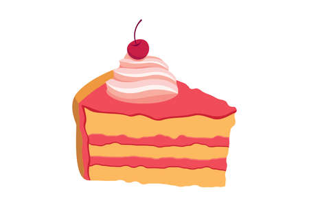 Piece of cake with whipped cream and cherry icon vector. Slice of a pink dessert vector. Pink cherry cake icon isolated on a white background