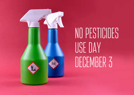 No Pesticides Use Day stock images. Plastic spray bottle with symbol is of a dead tree and fish. Dangerous for the environment symbol. No Pesticides Use Day Poster, December 3. Important day