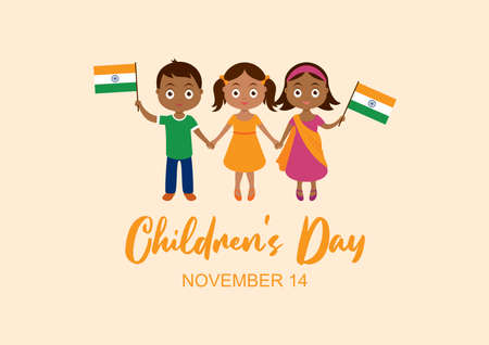 Children's Day in India vector. Indian children with indian flag vector. Cute little boy and girls holding hands vector. Three indian children icon. Children's Day Poster, November 14. Important day Иллюстрация