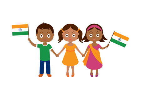 Cute indian children with indian flag icon vector. Adorable little boy and girls holding hands vector. Three indian children icon isolated on a white background. Group of indian children vector